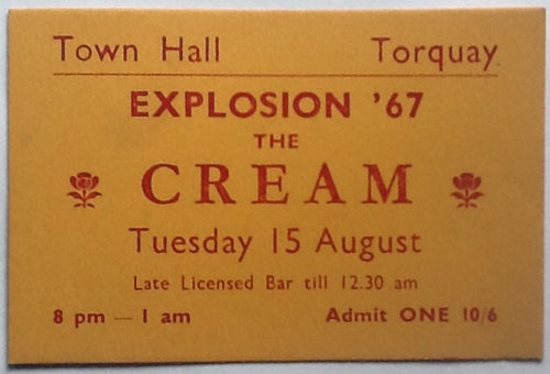 Cream Eric Clapton Original Concert Ticket Town Hall Torquay 1967