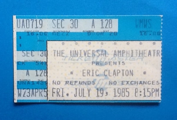 Eric Clapton Used Concert Ticket Los Angeles 1985