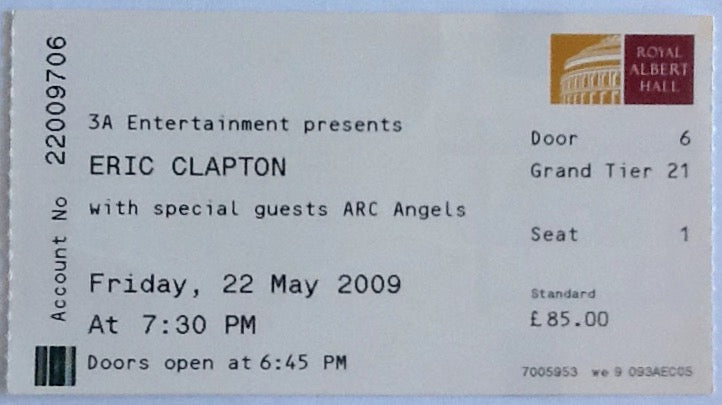Eric Clapton Original Used Concert Ticket Royal Albert Hall London 22nd May 2009