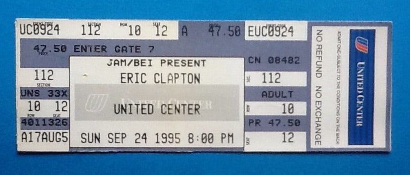 Eric Clapton Original Unused Concert Ticket Chicago 1995