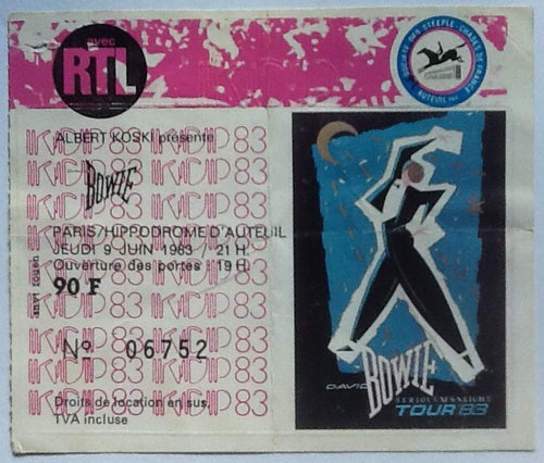 David Bowie Original Used Concert Ticket Hippodrome D'Auteuil Paris 1983