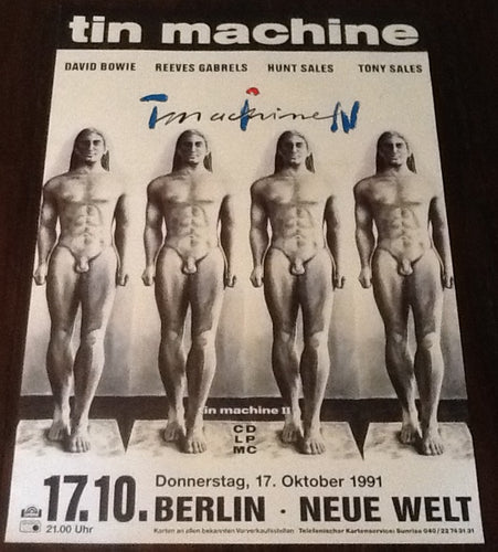 David Bowie Tin Machine Original Concert Tour Gig Poster Neue Welt Berlin 1991