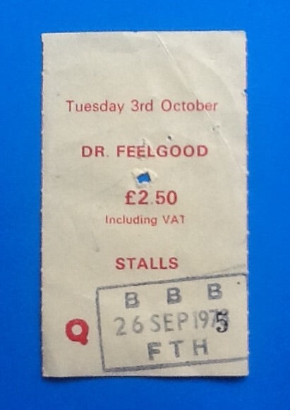 Dr Feelgood Original Used Concert Ticket Manchester 1978