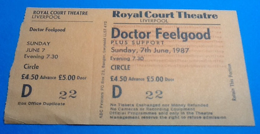 Dr Feelgood Unused Ticket Liverpool 1987
