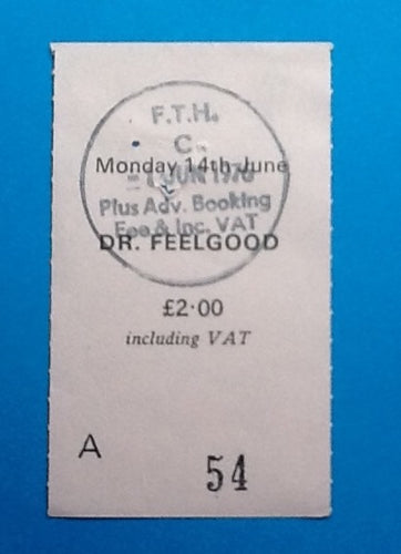 Dr. Feelgood Original Used Concert Ticket Manchester 1976