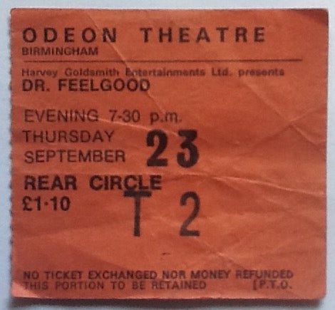 Dr Feelgood Original Used Concert Ticket Odeon Theatre Birmingham 1976