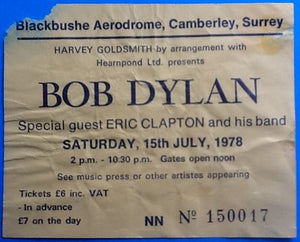 Bob Dylan Eric Clapton Original Used Concert Ticket Blackbushe 1978