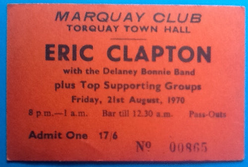 Eric Clapton Derek & the Dominos Original Concert Ticket Torquay 1970