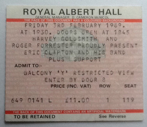 Eric Clapton Concert Ticket London 1989