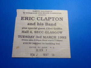 Eric Clapton Original Used Concert Ticket SECC Glasgow 3rd Mar 1992