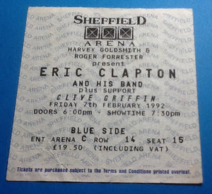 Eric Clapton Ticket Sheffield 1992