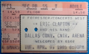 Eric Clapton Original Used Concert Ticket Dallas 1985