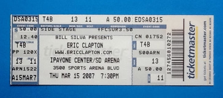Eric Clapton Original Unused Concert Ticket San Diego 2007
