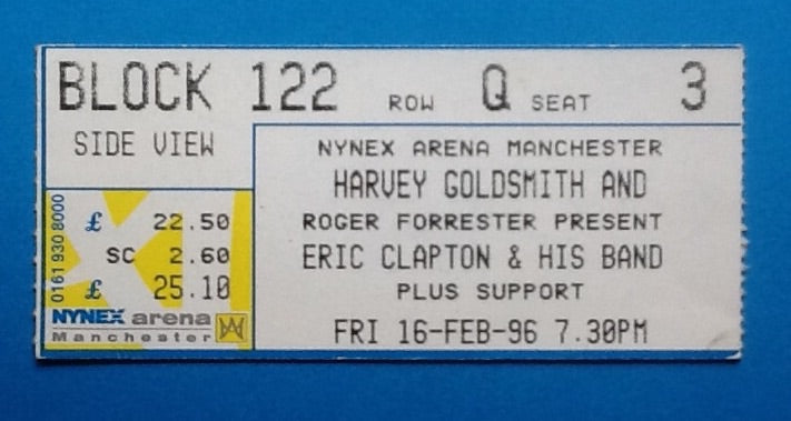 Eric Clapton Original Used Concert Ticket Manchester 1996