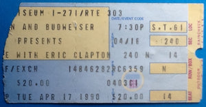 Eric Clapton Original Used Concert Ticket Cleveland 1990