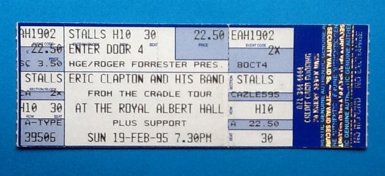Eric Clapton Original Unused Concert Ticket London 1995