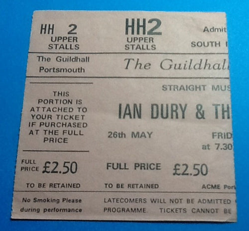 Ian Dury & the Blockheads Ticket Portsmouth 1978