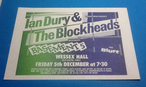 Ian Dury & the Blockheads Original Handbill Flyer Wessex Hall Poole 5th Dec 1980