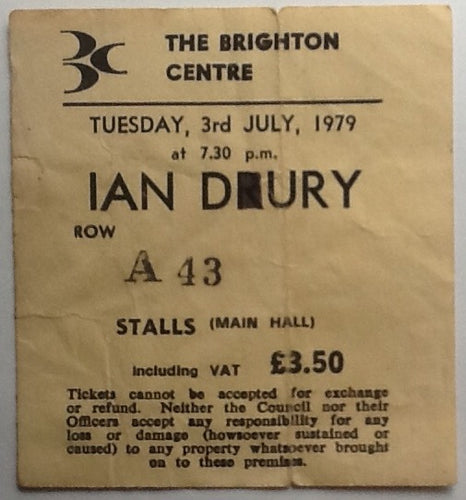 Ian Dury & The Blockheads Original Used Concert Ticket Brighton Centre 1979
