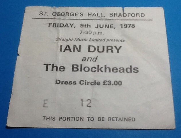 Ian Dury & the Blockheads Ticket Bradford 1978