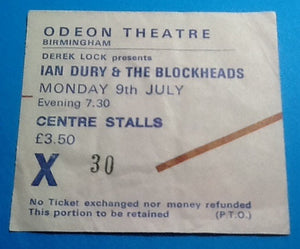 Ian Dury & the Blockheads Ticket Birmingham 1979