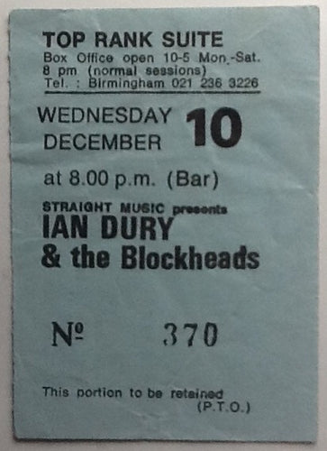 Ian Dury & The Blockheads Original Used Concert Ticket Top Rank Suite Birmingham 1980
