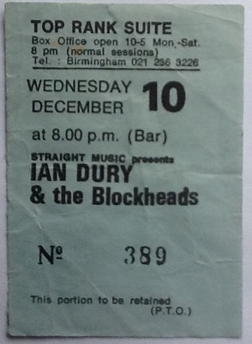 Ian Dury & the Blockheads Original Used Concert Ticket Birmingham 1980