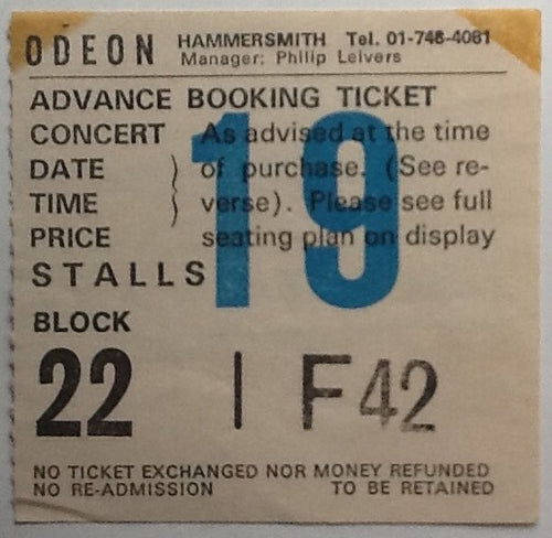 Ian Dury & The Blockheads Original Used Concert Ticket Hammersmith Odeon London 1978
