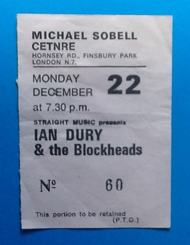 Ian Dury & the Blockheads Used Concert Ticket London 1980