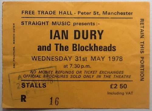 Ian Dury & the Blockheads Original Used Concert Ticket Free Trade Hall Manchester 1978