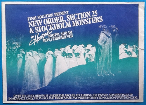 New Order Original Early Concert Handbill Flyer Heaven London 1981