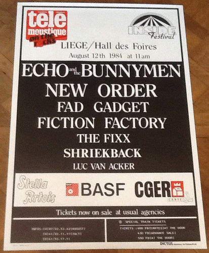 New Order Echo & the Bunnymen Original Promo Concert Tour Gig Poster Liege 1984