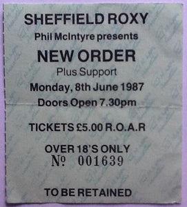New Order Original Used Concert Ticket Sheffield 1987