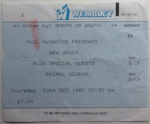 Joy Division New Order Original Used Concert Ticket Wembley Arena London 1987