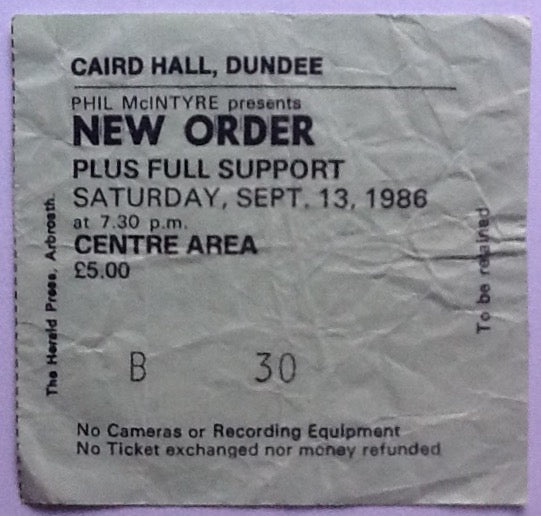 New Order Original Used Concert Ticket Dundee 1986
