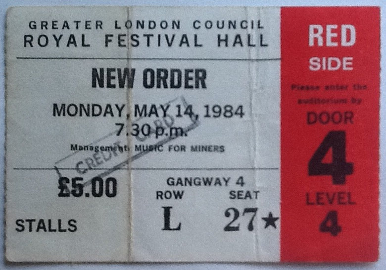 New Order Original Used Concert Ticket Royal Festival Hall London 1984