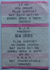 New Order Original Used Concert Ticket Sheffield 1985