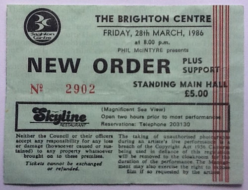 Joy Division New Order Original Used Concert Ticket The Brighton Centre 28th Mar 1986