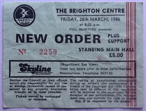 New Order Original Used Concert Ticket Brighton 1986