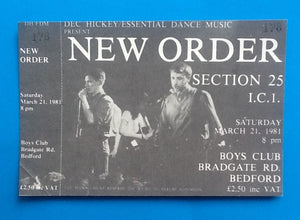 New Order Original Unused Concert Ticket Bedford 1981