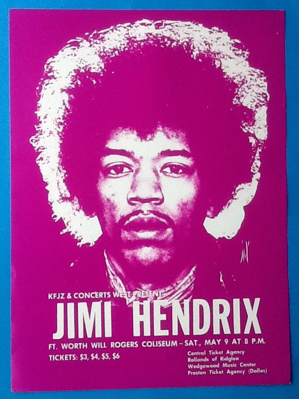 Jimi Hendrix Original Handbill - Flyer Ft. Worth 1970