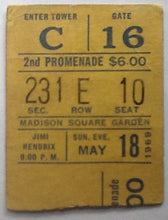 Load image into Gallery viewer, Jimi Hendrix Original Used Concert Ticket Madison Square Garden New York 1969
