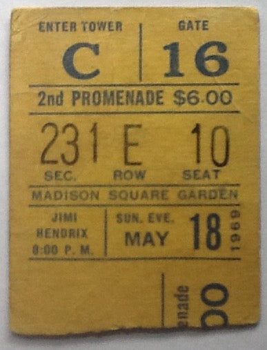 Jimi Hendrix Original Used Concert Ticket Madison Square Garden New York 1969