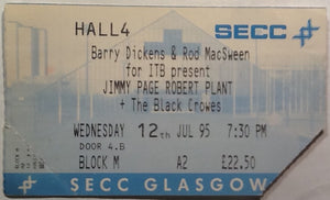 Jimmy Page Robert Plant The Black Crowes Original Used Concert Ticket 1995
