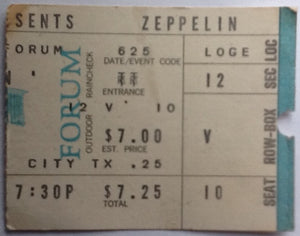 Led Zeppelin Original Used Concert Ticket Forum Los Angeles 1972
