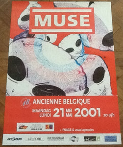 Muse Original Early Concert Tour Gig Poster Ancienne Belgique Brussels 2001