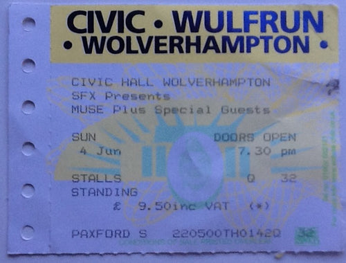 Muse Original Used Concert Ticket Civic Hall Wolverhampton 2000