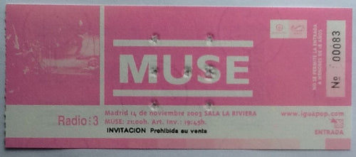 Muse Original Used Concert Ticket Sala La Riviera Madrid 2003