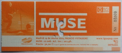 Muse Original Used Concert Ticket Palacio Vistalegre Madrid 2004
