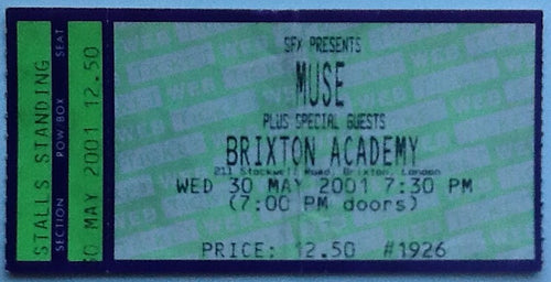 Muse Original Concert Ticket Brixton Academy London 2001